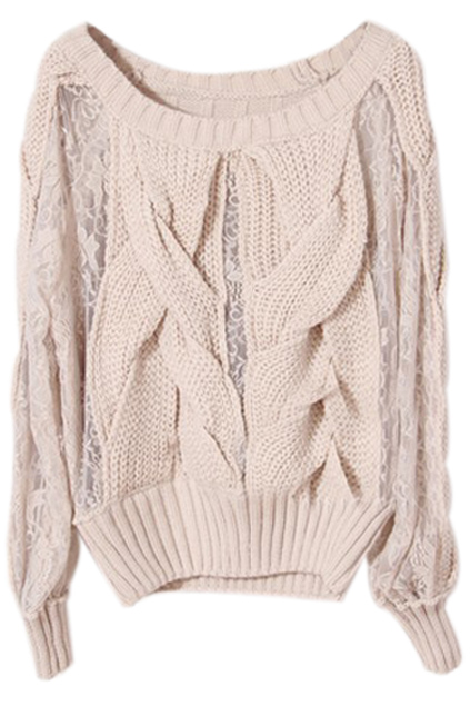 ROMWE | Panel Cable Knit Apricot Jumper, The Latest Street Fashion