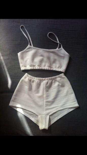 jumpsuit set two-piece set two-piece two-piece two-piece twopeice shorts crop tops crop top bralette skater skirt bralette crop white