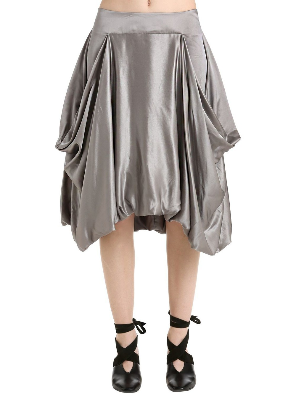J.W.ANDERSON Asymmetric Satin Skirt in grey / silver