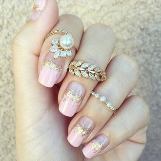nail polish nails diamonds pearl