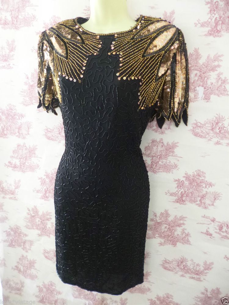 BNWT Stenay Vintage 80s Gatsby 20's Style Sequin Trophy Bead Black Gold Dress 16 | eBay