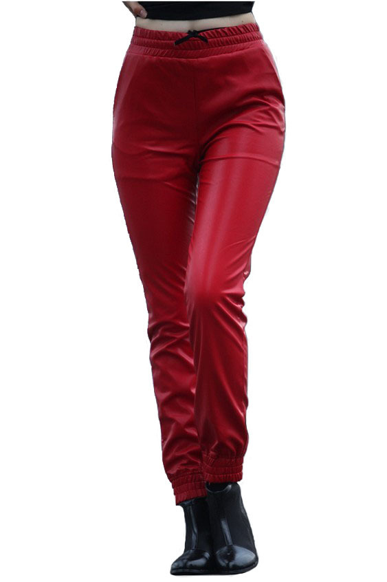 Awesome Unisex Mens Womens Leather Sweat Pants Joggers Black With Red Liner
