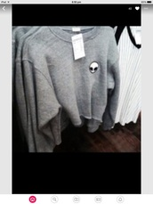 sweater,grunge sweater,black,grey sweater,top,alien,tumblr,grey,jumper