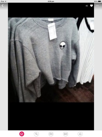 sweater grunge sweater black grey sweater top alien tumblr grey jumper