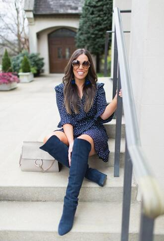 bohostylefile blogger jeans sunglasses dress bag romper shoes blue dress boots blue boots spring outfits