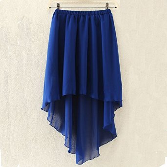 2014 New Arrival High Low Hem Chiffon Middle Skirt (royal blue) at Amazon Women's Clothing store: