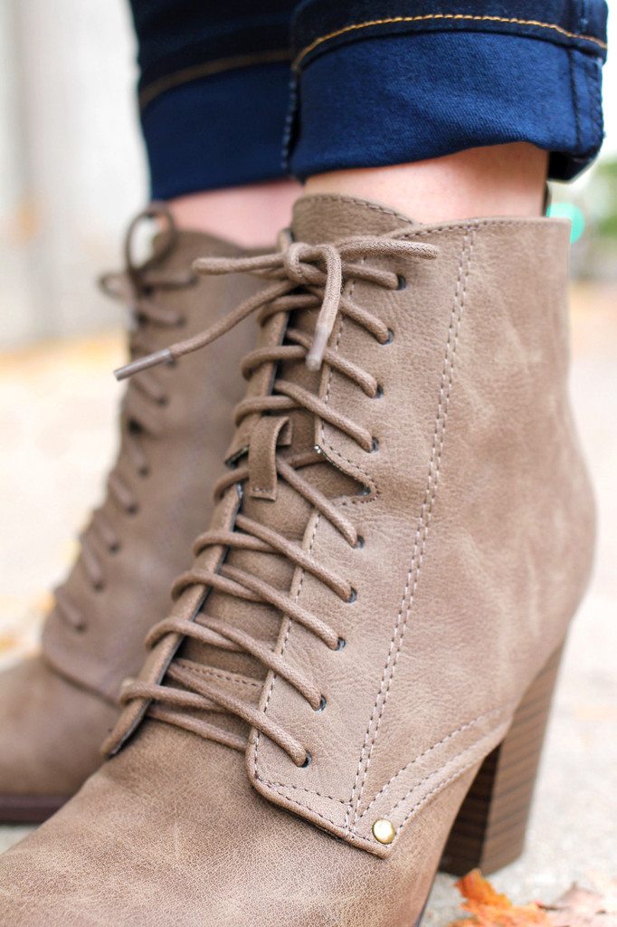 Taupe Lace Up Booties | UOIOnline.com
