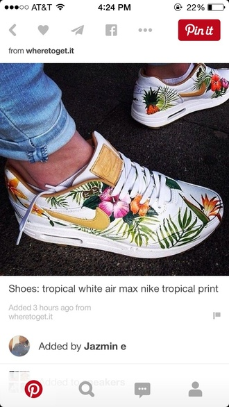 shoes tropical nike white flowers