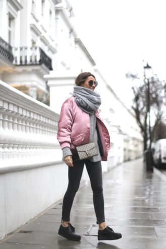 b a r t a b a c blogger sunglasses scarf pink jacket shoulder bag black jeans black shoes grey sweater jacket satin bomber metallic bomber