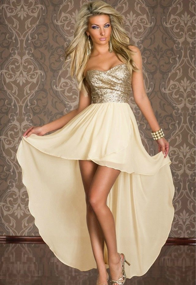 com : Buy Women Gold Party Dresses Champange Prom Dress Dazzing ...