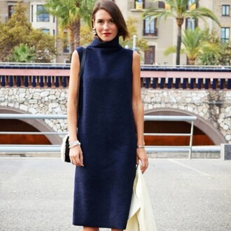 dress midi summer knit dress knitted dress midi dress blue dress turtleneck dress bracelets