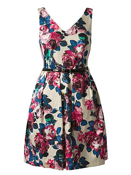 Closet V front and back floral dress Multi-Coloured - House of Fraser