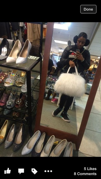 bag white fur purse