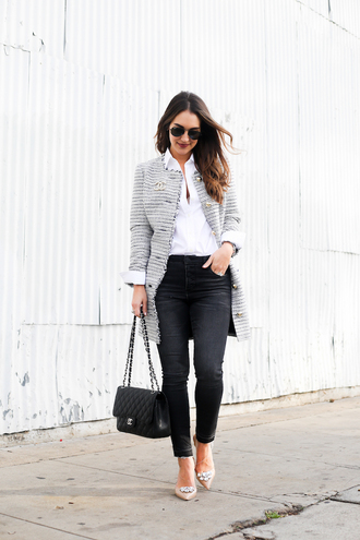 carriebradshawlied blogger jacket shirt shoes bag sunglasses jewels chanel grey jacket chanel bag nude heels black jeans