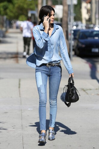 jeans denim kendall jenner shoes shirt purse embellished denim