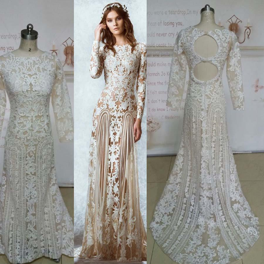 2015 amazing real image zuhai murd wedding dresses long for Long sleeve white lace wedding dress