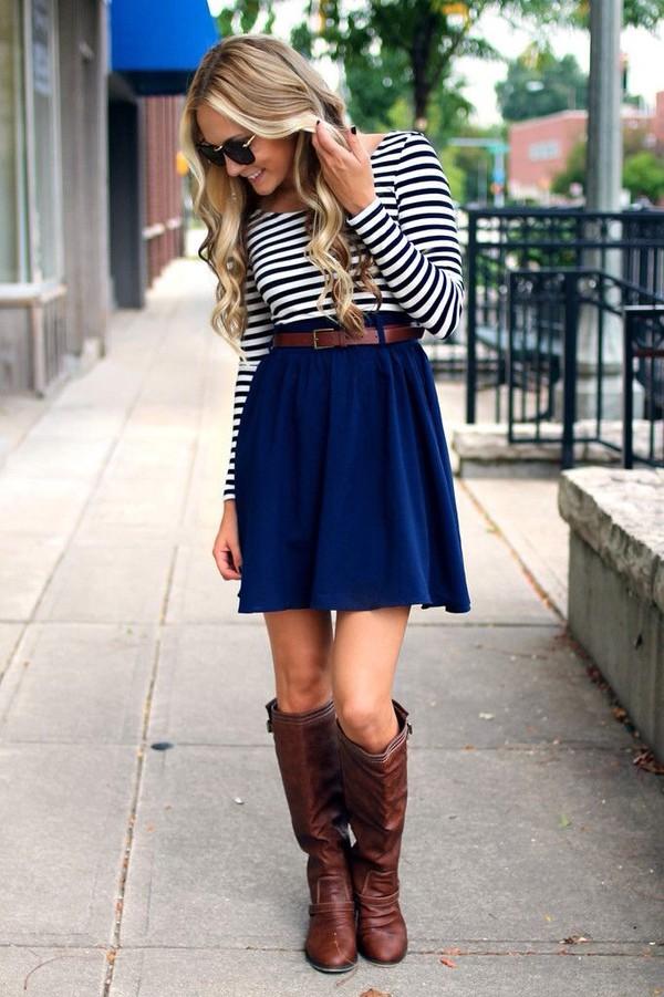 skirt navy skirt striped top belt boots stripes black and white dress dress