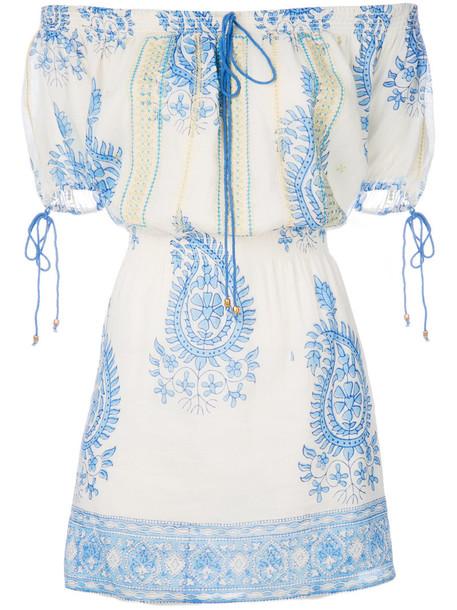 dress patterned dress women cotton blue silk