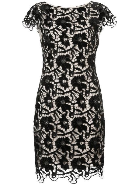 Alice+Olivia dress women spandex layered lace floral black crochet