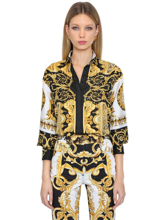 shirt print silk gold top