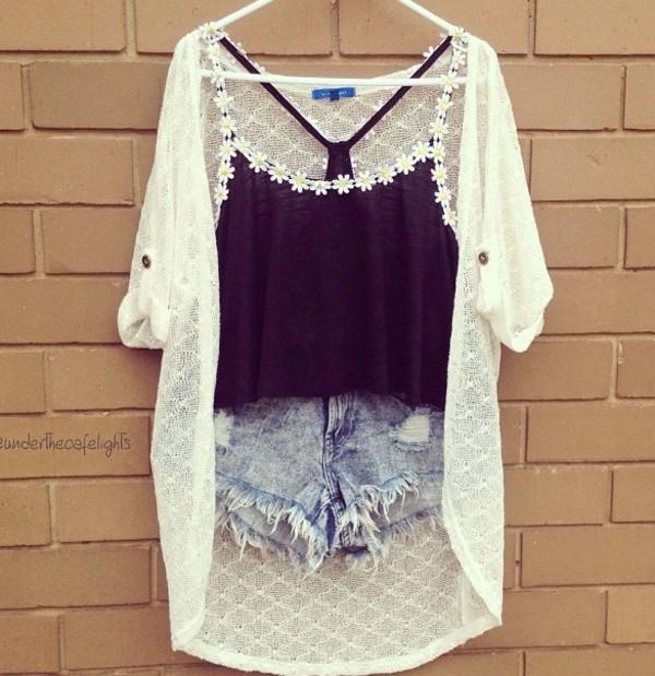 shirt daisy black pretty cute black daisy vest shorts