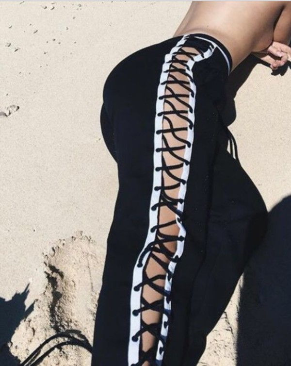 pants girly black black and white lace up joggers sweatpants