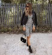dress,printed dress,midi dress,ruffle dress,long sleeve dress,shoulder bag,boots,flat boots,sunglasses