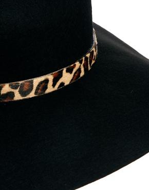 Whistles | Whistles Floppy Brim Leopard Trim Wool Felt Hat at ASOS