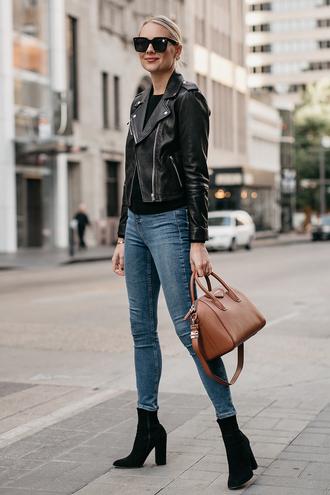 fashionjackson blogger jacket sweater jeans shoes bag sunglasses jewels fall outfits leather jacket handbag givenchy bag boots