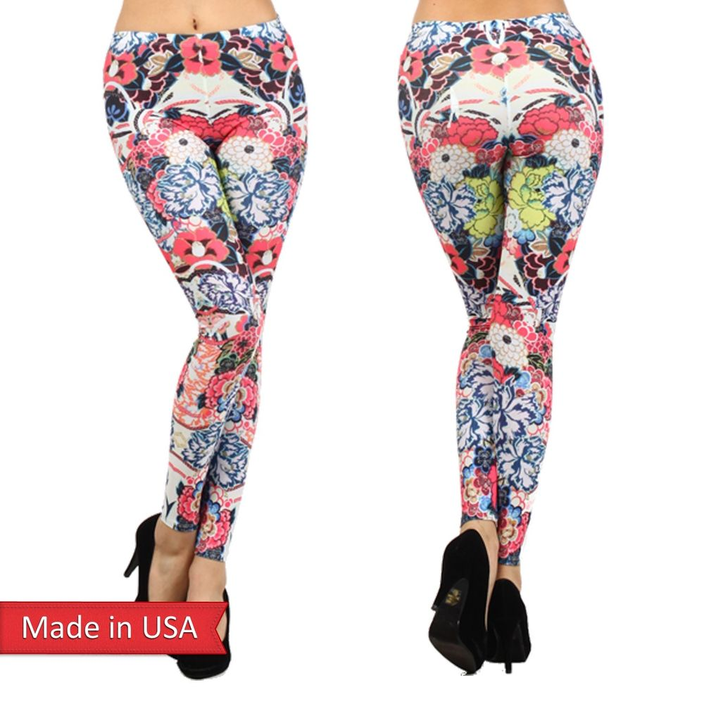 Sexy Women Exotic Asian Flowers Floral Print Color Leggings Tight