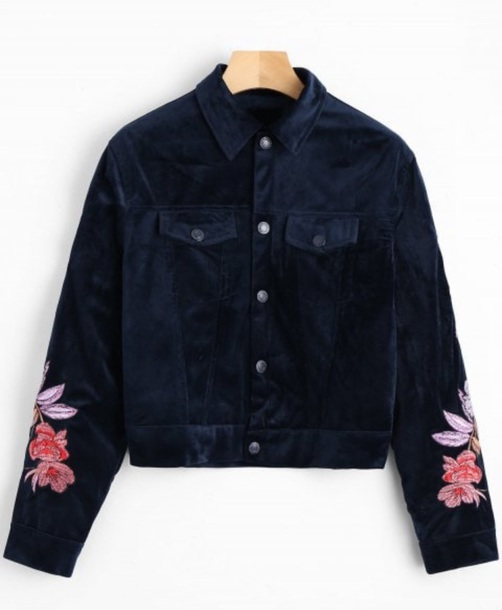 jacket embroidered girly blue crushed velvet floral flowers button up