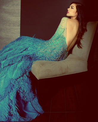dress peacock dress prom dress mermaid prom dress mermaid blue dress feather dress plume