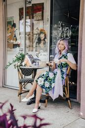 blogger,dress,late afternoon,shoes,bag,white shoes,midi dress,floral dress,spring dress