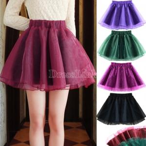 Women High Waist Slim Organza Tutu Mini Skirt A Line Flared