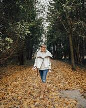 stephanie sterjovski - life + style,blogger,jacket,shoes,hat,winter outfits,fall outfits,suede boots,knee high boots,shearling jacket