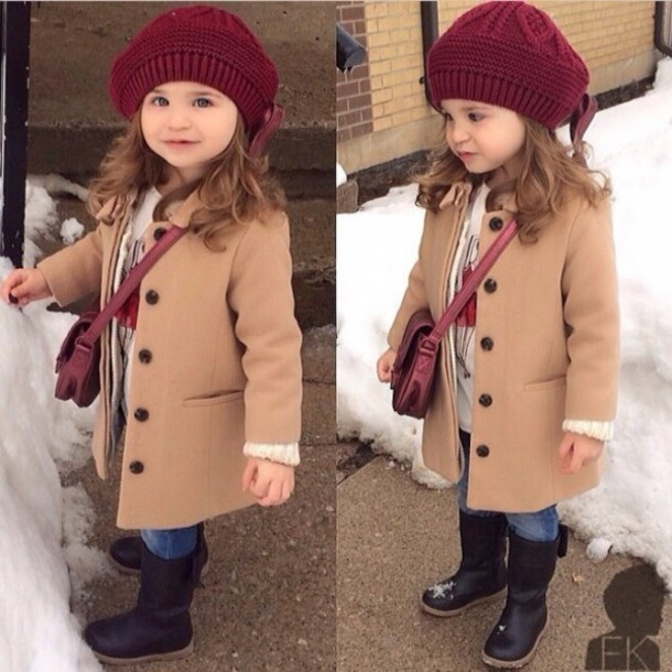 Coat: toddler 2t pea pea coat button down kid girl taupe