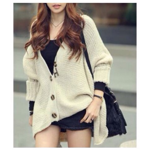 Beige oversize button up knitted cardigan