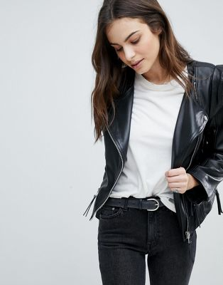 ASOS Leather Biker Jacket with Shoulder Pads at asos.com