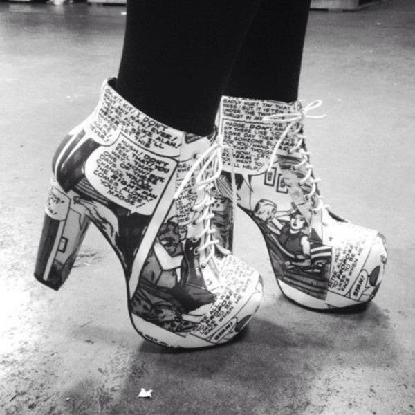 shoes strip platform lace up boots pop art comics comic strip colorful patterns pumps high heels white laces letters black leggings casual creative