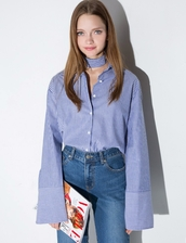 shirt,blue stripe oversize sleeve shirt,office girl,pixiemarket,boyfriend shirt,stripe shirt,blue shirt,oversize sleeve shirt,28719,business casual,office outfits,man repeller,striped shirt,korean fashion,korean style,stylenanda