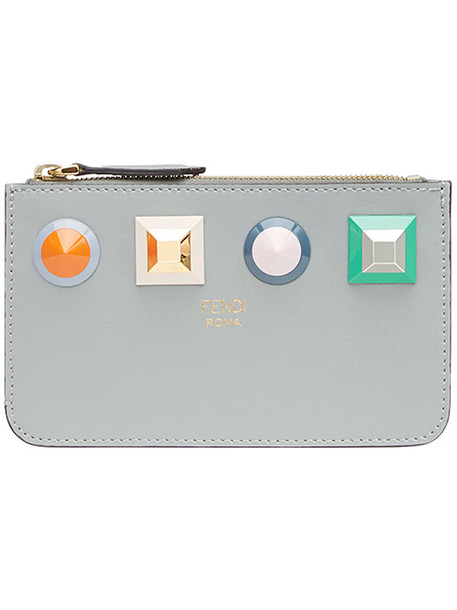 Fendi - key ring pouch - women - Cotton/Calf Leather/Polyacrylic/Acrylonitrile Butadiene Styrene (ABS) - One Size, Grey, Cotton/Calf Leather/Polyacrylic/Acrylonitrile Butadiene Styrene (ABS)