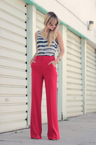 pop culture afternoon red pants pants
