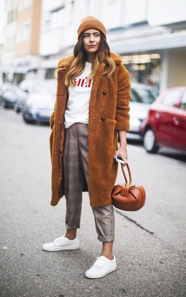 fashionlandscape blogger coat pants shoes hat t-shirt bag teddy bear coat beanie sneakers grey pants