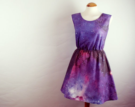 Galaxy dress cosmic nebula grunge dress purple blue by luminia