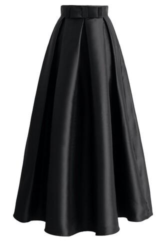 skirt bowknot pleated full maxi skirt in black chicwish maxi skirt black skirt pleated skirt bowknot