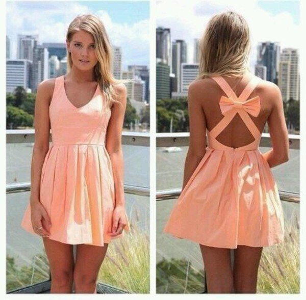 dress short dress pink dress open back dresses Bow Back Dress pink bow peach crossback red dress