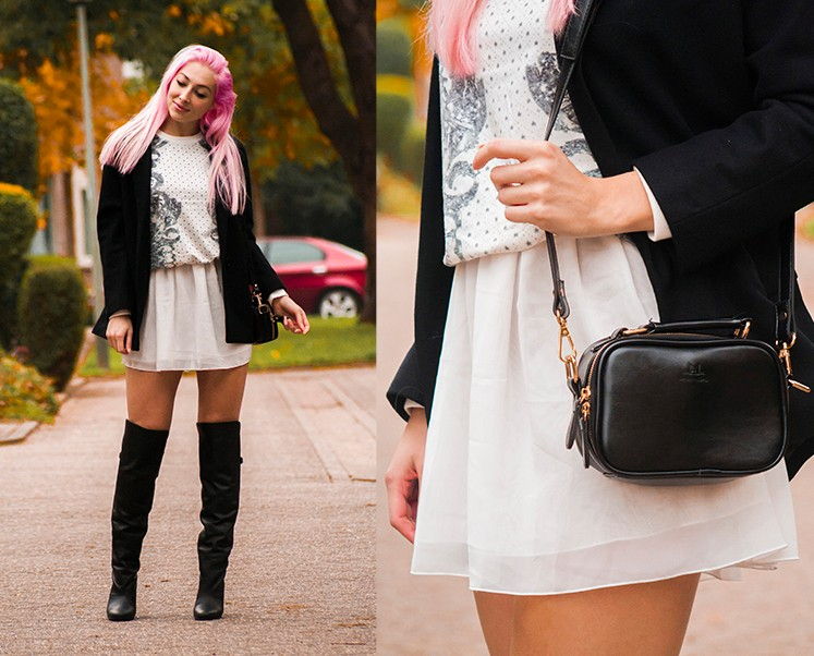 Oversize Blazer Coat in Black | Choies