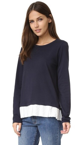 top ruffled top navy white