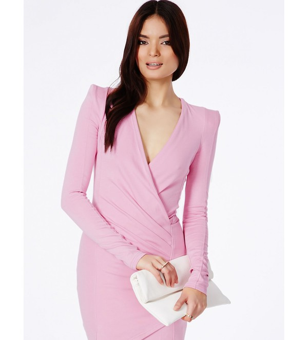 bodycon dress mini dress dress pink dress lipstick light pink long sleeve dress wrap dress