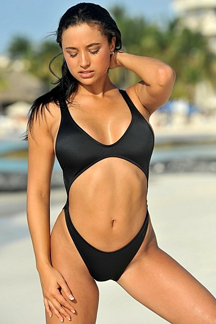 Womens Sexy Black One-Piece Swimsuit with Open Stomach and ... 330c8b28b500
